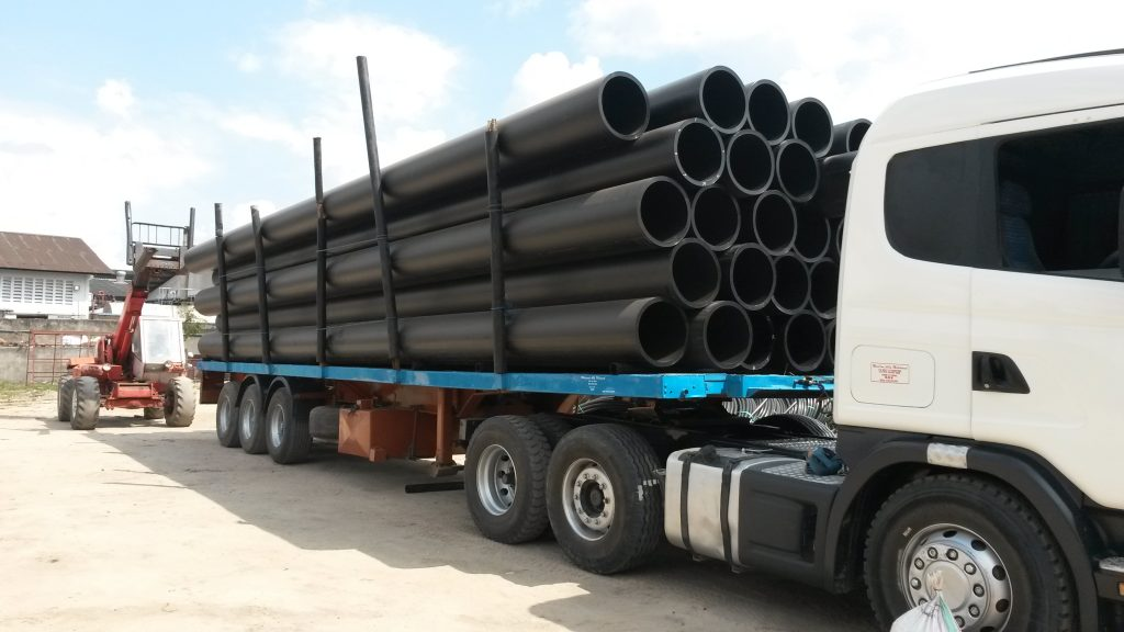 HDPE Pipes on Truck bed